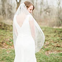 Velo de novia de 2 capas, de Aukmla, accesorios de pelo de tul suave
