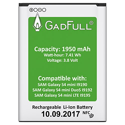 GadFull® Premium Akku für Samsung Galaxy S4 mini | 2017 Baujahr | wie B500BE | Galaxy S4 mini i9190 | Galaxy S4 mini Dual SIM i9192 | Galaxy S4 mini LTE i9195 | Batterie Accu Battery Galaxy