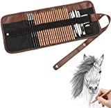 Feelily 18PCS Sketching Pencil with 3 Charcoal Pencil 2 Eraser 3 Paper Pens 1 Pencil Sharpener 1 Pencil Extender and 1 Pencil Wrap Set Art Craft for Drawing Sketching,Artists Getting Started Young artist student or Any budding artists