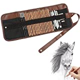 Feelily 18PCS Sketching Pencil with 3 Charcoal Pencil 2 Eraser 3 Paper Pens 1 Pencil Sharpener 1 Pencil Extender and 1 Pencil Wrap Set Art Craft for Drawing Sketching,Artists Getting Started Young artist student or Any budding artists - Feelily - amazon.co.uk