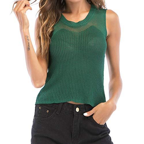 NPRADLA Womens Knitwear Vest Sommer Sprint Plain Pullover O-Neck Solide Gestrickte Ärmellose Aushöhlen Gestrickte Bluse Woman Tops Tee