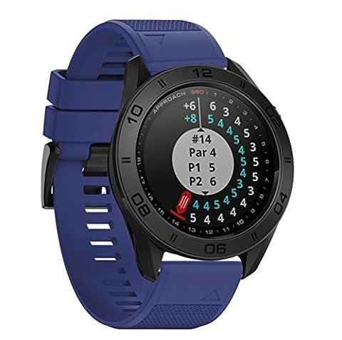 Silikon Uhrenarmbänder für Garmin Approach S60 Smartwatch, CICIYOER Weicher einfacher Ersatzriemen (Garmin Approach S60 Smartwatch, Dunkelblau)