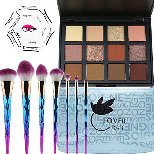Make-up Glitter Lidschatten, Lover Bar 12Farbe Lidschatten Palette + 7Pinsel Set Make Up + Eyeliner stencil-waterproof Sleek Textmarker Contour kit-beauty Face Powder Mixer Bronzer Foundation-Pinsel