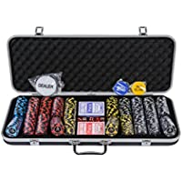 Riverboat Gaming New Orleans Pokerset mit Pokerchips - 500-teiliges Pokerset mit Wert (Kostenloses Zubehör)