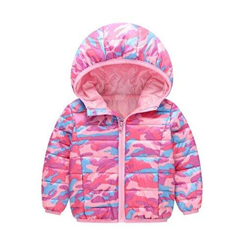 Kinder-Kleidung Kinder-Bettdecken In Der Kinder-Baby Mit Kapuze Baumwolle Jungen Und Mädchen Camouflage Kurze Jacke,Pink-120cm