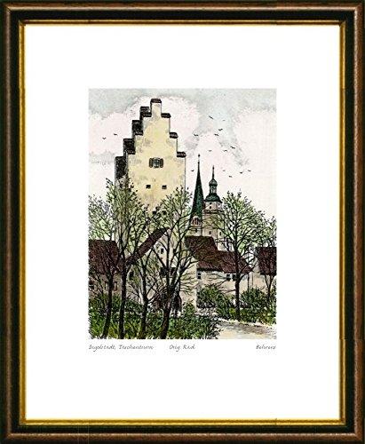 Handkolorierte original Radierung Ingolstadt, Taschenturm im Rahmen Braun-Gold, Graphik, kein Kunstdruck, kein Leinwandbild
