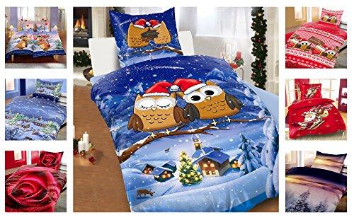 Winter Kuschel Flausch Fleece Bettwäsche Weihnachten Designs, Edeltraud 2x 135x200 + 2x 80x80