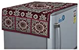 #10: Yellow Weaves™ Floral Design Decorative Fridge Top Cover - Maroon Color