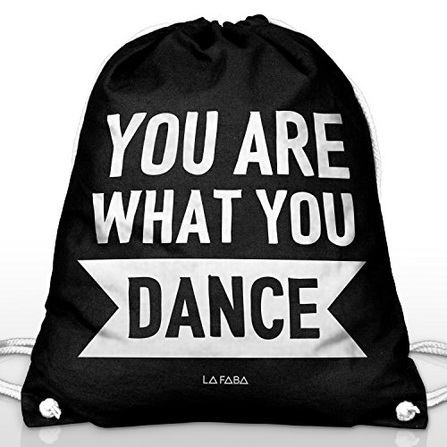 La Faba  You Are What You Dance Turn Bolsa Negra de Algodón impreso con.   3d3a5b8119083