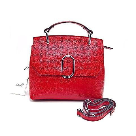 Sheli Ladies Red Leather Medium Tote Handbag Crossbody Bag Christmas Holiday Birthday Gift for Girlfriend Woman Wife
