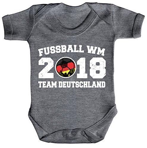 ShirtStreet Germany Fußball WM Fanfest Gruppen Strampler Bio Baumwoll Baby Body kurzarm Jungen Mädchen Team Deutschland, Größe: 3-6 Monate,Heather Grey Melange