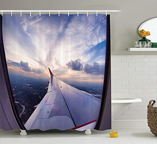 tgyew Airplane Decor Collection, Airplane Travel Time is Sunset Business Distant Evening Float Holiday Horizon Journey Window Picture, Polyester Fabric Bathroom Shower Curtain Set, 72x72 inches -