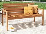 SAM® Teak-Holz Gartenbank mit Rückenlehne, massive Sitzbank für bis zu 3 Personen, ideal für Garten Terrasse Balkon oder Wintergarten, ca. 155 x 65 cm [521214]