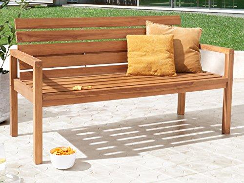 SAM Teak-Holz Gartenbank mit Rückenlehne, massive Sitzbank für bis zu 3 Personen, ideal für Garten Terrasse Balkon oder Wintergarten, ca. 155 x 65 cm [521214]