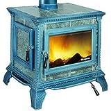 Hergom M288660 - Estufa de leña heritage esmaltado negro azulado
