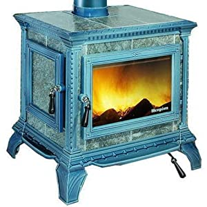 Hergom M288660 – Estufa de leña heritage esmaltado negro azulado