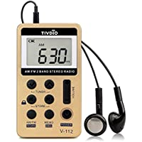 Tivdio V-112 Mini Radio Portatile Ricevitore Walkman AM FM Radio Pocket Personale Radio Tascabile con Batteria Ricaricabile e Auricolare (Dorato)