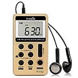 Tivdio V-112 Mini Radio de Bolsillo Portátil Radio Digital Pequeña AM FM Radio 2 Bandas Receptor con Batería Recargable y Auriculares(Dorado)