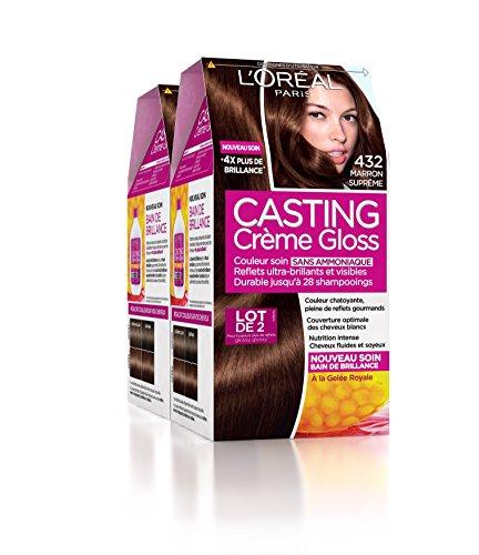 L'Oréal Paris Casting Crème Gloss Coloration Ton Sur Ton Sans Ammoniaque 4.32 Marron Suprême Lot de 2