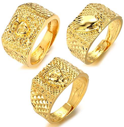 Halukakah ● Kings Landing ● Herren 18k Echtes Gold überzogen Löwe der Krone 3D + Hände Umklammern + Meduse Satz von 3 Ringen Größe Einstellbar mit Kostenloser Geschenkpackung