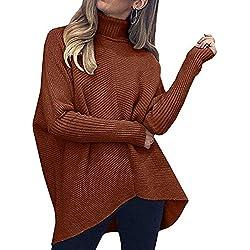 VJGOAL Mujer Cuello de Cisne Jerséis Otoño Invierno Moda Casual Suéter sólido Elegante Jersey Flojo Cuello Alto Manga Larga Camisetas de Punto Tops