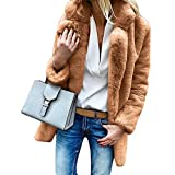 Mantel Kolylong Damen Elegant Revers Wollmantel Lang Herbst Winter Warm Fellmantel Dicker Wolljacke Faux Fur Mäntel Oversize Parka Outwear Trenchcoat Wintermantel Steppjacke S-2XL