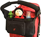 #1 Value - Parents love this Stroller Organiser - For Most Prams and Pushchairs, Britax, Baby Jogger, Umbrella - Ideal for Baby Accessories and Nappies - XL Drink Holders - Amazing Storage!