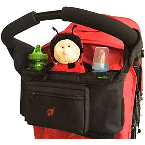 # 1 Valor - Organizador para Cochecitos y Sillas de Paseo - Para la mayoría de cochecitos y carritos, Britax, Baby Jogger, Umbrella - Ideal para Accesorios de Bebé y Pañales - Portabebidas