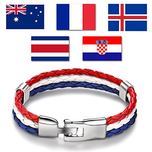DALARAN Frauen Nationalflagge Armband Rot Weiß Blau Leder Armband Armreif