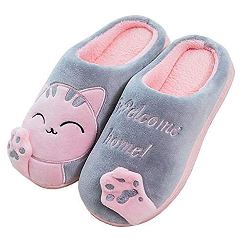 JACKSHIBO Herren Hausschuhe, Warme Plüsch Hausschuhe Indoor rutschfeste Slippers Cartoon Cat Pantoffeln Für Damen, Grau, 38/39 EU