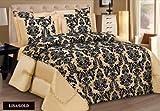 Lisa Gold King modernes Jacquard, Damast Flockfaser Luxus Bettdecke Bettwäsche Set enthält: 1 x Bettüberwurf, Sofüberwurf &2 Kopfkissenbezüge von Quality Linen and Towels