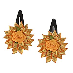 crayonflakes Kids Mädchen Golden Floral Tic Tac/Hair Pin/Hair Clip Set 2Stück