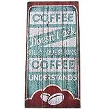 Dadeldo Living & Lifestyle Wandbild Coffee understands Kaffee Design MDF 48x24cm mint weiss Kunstdruck Schild Vintage Retro