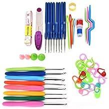 Juego de agujas y herramientas de tejer de 16 tamaños, 57 unidades: tijeras, dedal, cinta métrica, contador de filas, aguja torcida, aguja de sutura, protectores de punta para agujas, agujas de tejer, anillo circular de contado de chiccharming