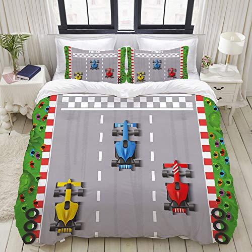 MOBEITI Bedding Bettwäsche-Set,Sieger des Autorennen-Formel-1-Automobilwettbewerbs, Champion Speed   Team,Mikrofaser Bettbezug und Kissenbezug - (200 x 200 cm)