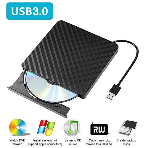 Externes DVD Laufwerk USB 3.0, Zacfton CD DVD-RW Brenner Laufwerk für Windows 7/ 8/ 8.1/ 10/ Vista/ XP/ 2003, Linux, Mac 10 OS System