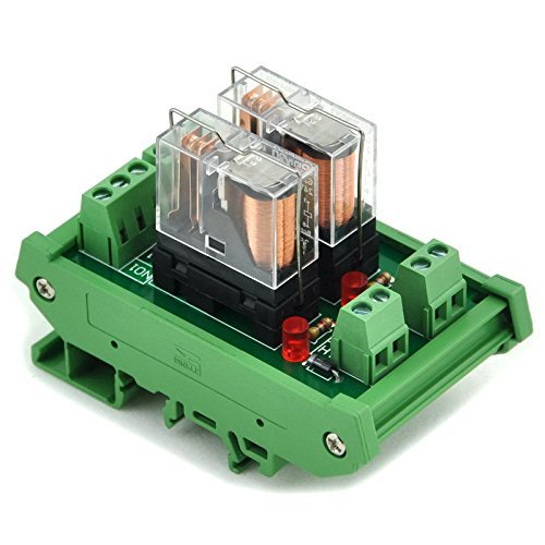Electronics-Salon DIN Rail Mount 2 SPDT 16 A Power Relay Interface Modul, Omron G2R-1-E 24 V DC Relais. -