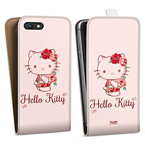Apple iPhone X Silikon Hülle Case Schutzhülle Hello Kitty Geschenke Merchandise Roses Downflip Tasche weiß