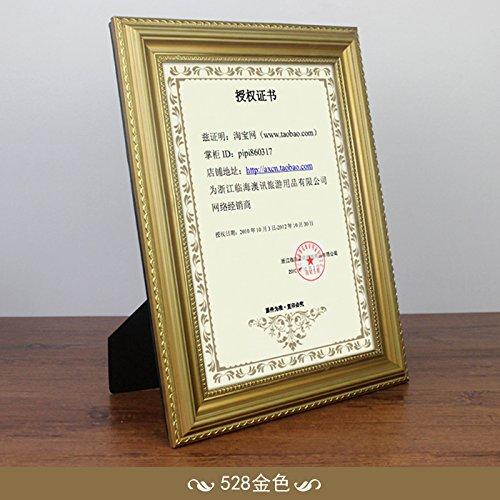 SQZH legno massello photo frame tavola orizzontale A4 certificati di gold box con un certificato sulla parete della scatola senza autorizzazione box foto,A4,Golden