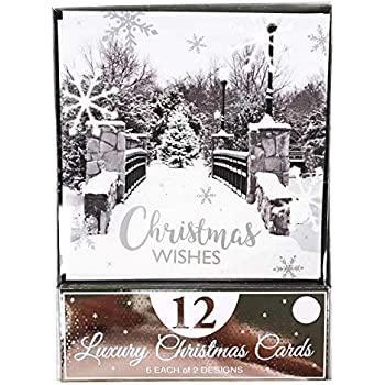 Christmas Cards Pack Box Of 12 Xmas Luxury Greeting Bulk Assorted Silver Modern