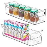 mDesign Set da 2 Organizer per cameretta - Contenitore portaoggetti con Manici Realizzato in plastica Senza BPA - Box Grandi Ideali per Giocattoli, Vestiti o Bambole - Trasparente