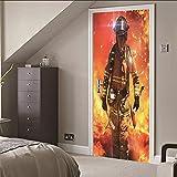 WEIFENGX Papier Peint Porte Photo Mural Autocollants Muraux Muraux De Porte 3D Stickers Pompiers (77X200CM), Stickers Vinyle Amovibles Pour La Décoration De La Cuisine