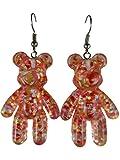 Ohrringe Ohrhänger Hänger Gummibärchen Süßigkeiten Bär Teddy orange / rot transparent Glitter 8593