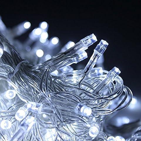 [Remote & Timer] alimentati a batteria delle luci leggiadramente 50 LED String Su un 5 Meter Transparent Cable - 8 modalità, regolabile, impermeabile - per il Natale, matrimoni, feste, bar, club, Indoor e decorazione esterna (Bianco)