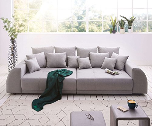 DELIFE Bigsofa Violetta Grau 310×135 cm abgesteppt inklusive 12 Kissen Big-Sofa