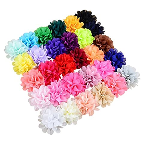 30 Color Chiffon Flowers Lined Hair Bows Clips for Baby Girl Teen
