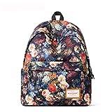 Flarut Schulranzen Beiläufig Schulrucksack Mädchen Teenager Daypacks Print Muster Damen Backpack Rucksäcke für 14 Zoll Laptop-Blume