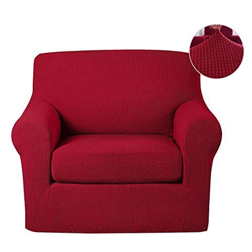Housse Canape 3 Place, couverture canapé housse de fauteuil elastique housses canapé Trois 2 places Sofa Saver Doux dans Gris Kaki Bleu marin Bourgogne Marron foncé Couleurs (Bourgogne, fauteuil)