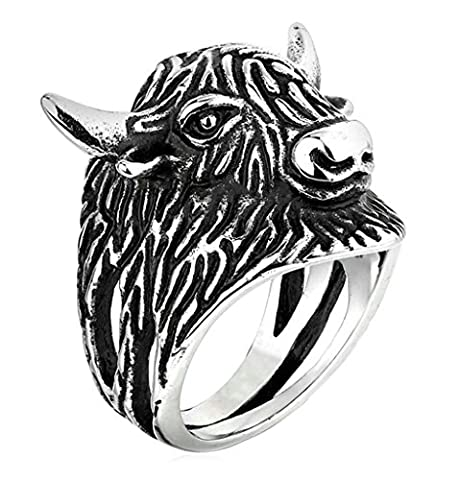 Aooaz 316L Stainless Steel Mens Ring Bands Cow Silver Size P 1/2 Punk Gothic Vintage Novelty Ring