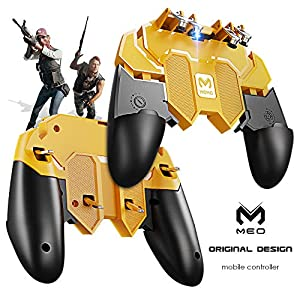 MEO Mobile Game-Controller kompatibel mit PUBG [Six-Finger] – Game-Controller mit Gaming-Trigger, Shoot Sensitive Controller Gamepad Ziel & Fire Trigger (Gelb & Schwarz)